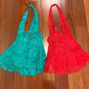 VS Holiday red & green lace halter teddies size S